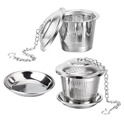 Tee-ei Sieb Edelstahl Sieb für losen Blatt-Tee Ollimy Teefilter Kaffee und Auffangwannen (2 Stück) geeignet für jeden losen Tee und alle Tee-Blätter