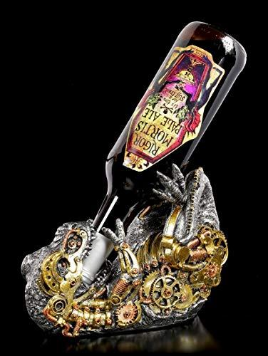 Figuren Shop GmbH Fantasy Flaschenhalter - Steampunk T-Rex   Deko-Artikel, handbemalt, B 22,5 cm