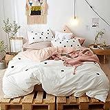 Kexinfan Bettbezug Towel Embroidery Washed Cotton Vierteiliges Set Dreidimensionale Mischung Baumwolle Bettwäsche, Bettwäsche, Punkte - Weiß, 2,0 M (6,6 Ft) Bett