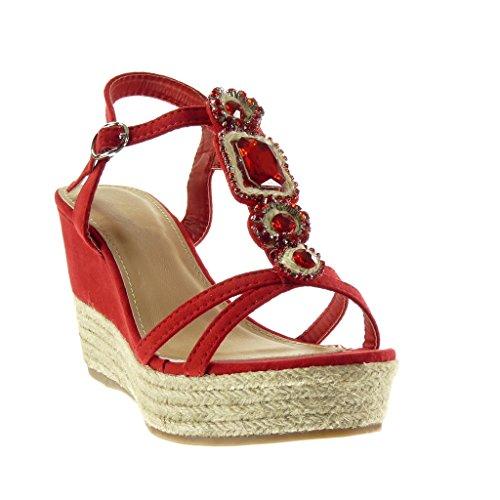 Angkorly Scarpe Moda sandali Espadrillas cinturino zeppe donna gioielli tanga corda Tacco zeppa piattaforma 9.5 CM Rosso