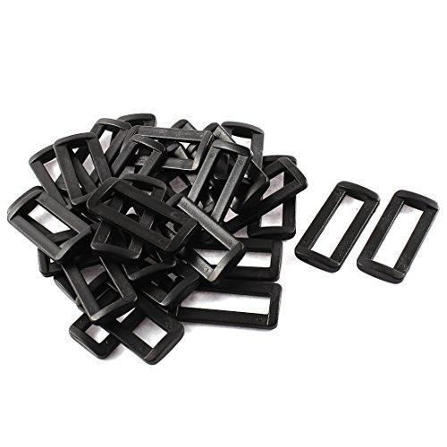 Dealmux Plastique Barre diapositives Boucles 30 pcs Noir pour 3,8 cm Sangle en toile