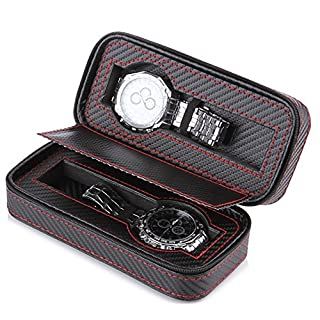 AMYMGLL Europäische Kohlefaser Glas Deckel PU Lederarmband Uhrenbox Finishing Aufbewahrungsbox Uhr Aufbewahrungstasche Multi-Uhr-Geschenk-Box , 2
