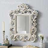 Carved Ornate Mirror-Antique White