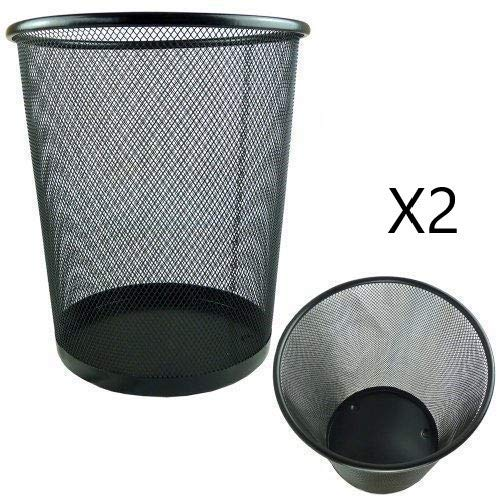 EUROXANTY Papierkorb | 27 x 24 cm | Mülleimer büro | Muelleimer rund | Abfalleimer | Schwarz | Metallgitter | 10 L | 2 Stück