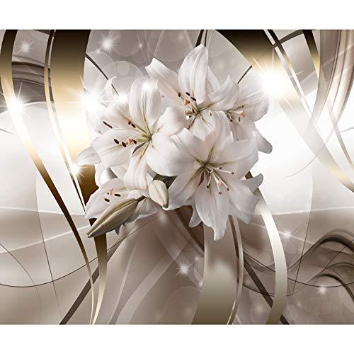 *decomonkey | Fototapete Blumen Lilien 350×256 cm XL | Tapete | Wandbild | Wandbild | Bild | Fototapeten | Tapeten | Wandtapete | Wanddeko | Wandtapete | Abstrakt 3d Effekt beige*