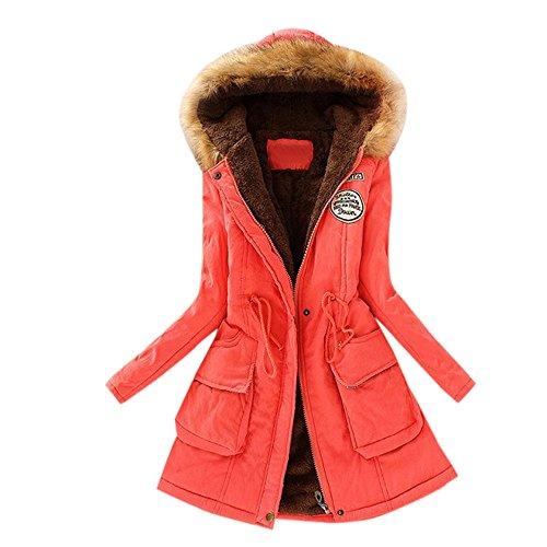 KUDICO Damen Mantel Herbst Winter Warmer Pelzkragen schlank fit Monochrom Reißverschluss Lange Kapuzenjacke Parka Outwear, Angebote!(Wassermelone rot, EU-42/CN-XL)