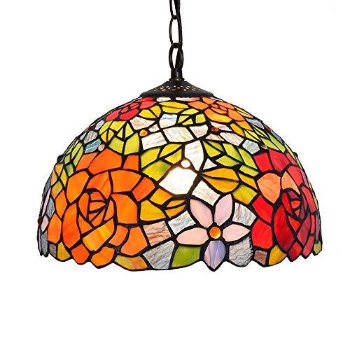 Tiffany-Stil Kronleuchter Icol Multicolor Glas Flur Anhänger Hängelampe Light 1 Licht Europäischen Pastoralen Unterputz Deckenleuchten For Wohnzimmer Schlafzimmer Esszimmer (12 Zoll) - Unterputz 1 Licht