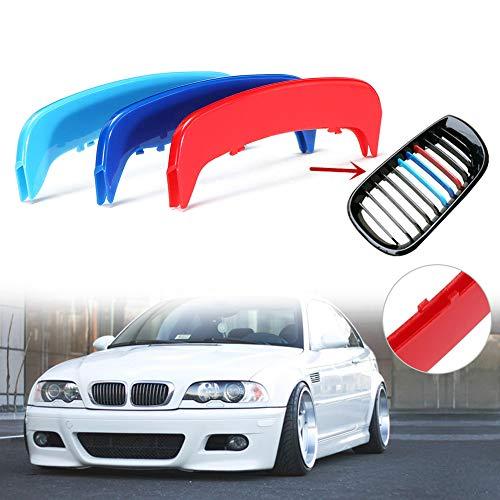 housesweet M Farbe einfügen Trim 3D Kühlergrill Abdeckung Clip Streifen Motor Sports Grill Abdeckung Aufkleber Dekoration für BMW E46 2002-2004