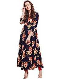 Viscose Floral Printed Flared Kurta With Buttons