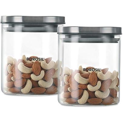 Borosil   Classic Glass Jar For Kitchen Storage, Set of 2,  600 ml + 600 ml