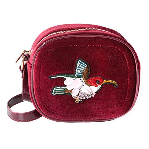 Accessoryo - rote Samtvogelentwurfshandtasche der Frauen (Gucci Tasche, Schulter Tasche)