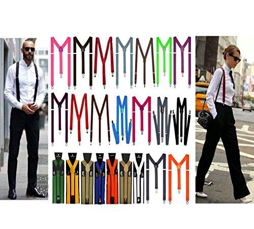 Y Form Hosenträger für Damen und Herren 3er Clip Verstellbar Elastisch mehrere Farben Unisex (Dunkel Grau Nr.2)