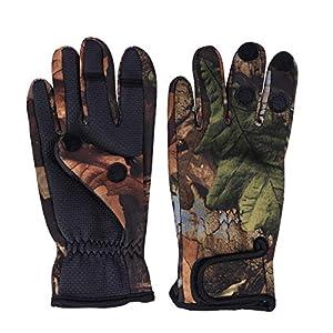 BESPORTBLE 1 Paar Angeln Handschuhe für Männer Frauen Warme und wasserdichte Sonnenschutz Jagd Reiten Radfahren Handschuhe Größe M (Camouflage)