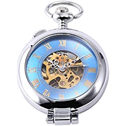 AMPM24 Fashion Antique Blue Skeleton Mens Steampunk Mechanical Pendant Pocket Watch + AMPM24 Gift Box WPK130