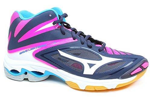 Scarpe alte da volley donna MIZUNO, mod. Wave Lightining Z3 Mid W, art. V1GC170505, colore blu e fuxia