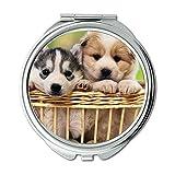 Yanteng Spiegel, Kleiner Spiegel, niedlicher Mops Hund Hund und Katze, Taschenspiegel, 1 X 2X Vergrößerung