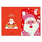 Decdeal Merry Christmas Cards DIY Diamond Painting Handmade Cards Round Drill Greeting Cards Rhinestones Embroidery Arts Crafts Gifts