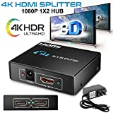 XuBa - Splitter HDMI Ultra HD 4 K x 2 K 1 in 2 uscite, 1080p, 3D, Full HD, Doppio Monitor