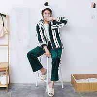 WYIKAI Pijamas Pijama De Rayas Hembra Gruesa Franela De Invierno De Terciopelo Camiseta Longsleeved Coral En Home Service Pack Otoño Invierno 2Pedazo Pijamas,M
