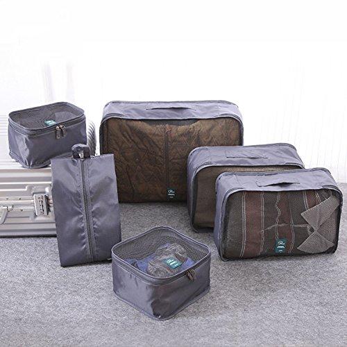 CONMING 6pcs Spielraum-Verpackungs-Organisator-Würfel-Spielraum-Polyester-Ineinander greifen-Drawstring-trockene Beutel-Kleidung-Koffer-Gepäck-Speicher-Beutel (rot) rot