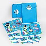10 Einladungskarten Geburtstag Kinder Katze für Mädchen incl. 10 Umschläge, 10 Tüten / blau, 10 Aufkleber Einladungen Kindergeburtstag Geburtstagseinladungen Set Partyset Kartenset Party