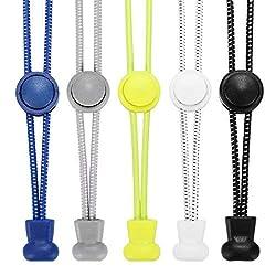 Accevo Elastische Schnürsenkel, 5 Paar Sport Schnellschnürsystem mit innovativem Schnellverschluss für Kinder, Running, Workout, Wandern(Schwarz+Weiß+Grau+Blau+Gelb)