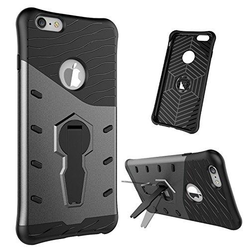 JIALUN-Telefon Fall IPhone 6 Plus 6s Plus Fall, 2 in 1 Schock Zone mit einem kühlen rückseitige Abdeckung Handy Fall für IPhone 6 Plus 6s Plus ( Color : Red , Size : Iphone 6s Plus ) Black