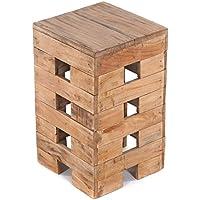 "Preisvergleich für Design SITZHOCKER""Brick"" | 48x29x29 cm, Recycling Holz, Massiv | Holzhocker, Blumenhocker"