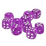 MagiDeal 10 Stück D6 Würfel Punkt Dice Spielwürfel für Party Familie Spielzeug / Verschiedene Farbe und Stil zu Wahlen / Geschenk - Lila
