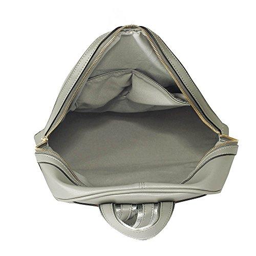 Rucksack Zum Frau Damen Rucksack Schule Taschen Damen Qualtiy Mode Faux Leder Handtasche Gold Metall Arbeit Mit Zwei Einstellbar Schulter Startet und Vorderseite Reißverschluss Tasche Grau