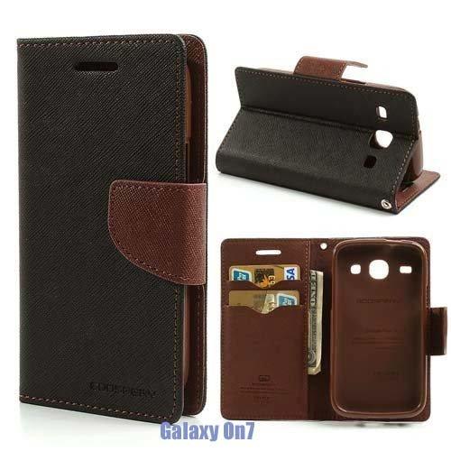 BRAND FUSON Mercury Goospery Fancy Diary Wallet Flip Cover For Samsung Galaxy ON7 Black & Brown
