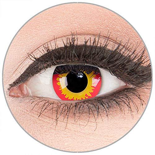 Farbige Kontaktlinsen zu Fasching Karneval Halloween in Topqualität von 'Glamlens' ohne Stärke 1 Paar Crazy Fun gelbe rote 'Wild Fire' mit - Gelb Darth Maul Kostüm