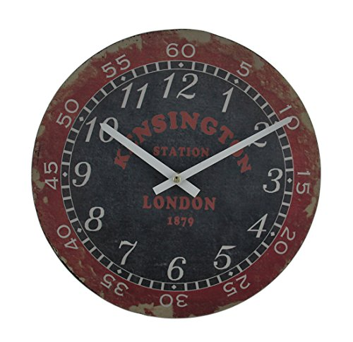 London Kensington Station Distressed Vintage Finish Rund Holz Wanduhr - Vintage-inspirierte Runde Holz