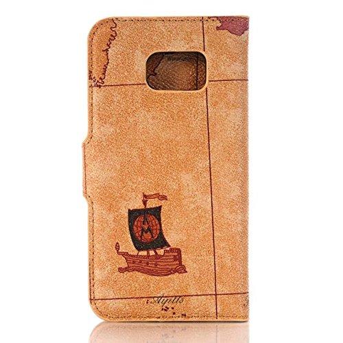 Samsung Galaxy S7 Case,retro - Karte Muster - Fall Auf Pu - Ledertasche Weichen Schwarz Silicon Deckung Für Samsung S7 ( Color : 3 , Size : Samsung S7 ) 2