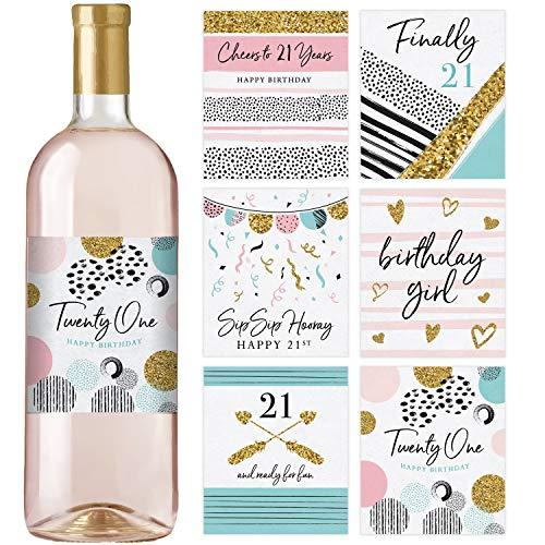 Flaschenetiketten zum 21. Geburtstag für Weinflaschen, Geschenk zum 21. Geburtstag, Party-Dekorationen und -Zubehör, 6 Stück
