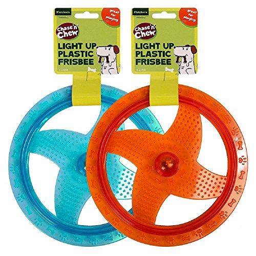 1x Light Up Kunststoff Hund frisbee- rot oder blau Farbe zufällig