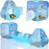 2 x Pop Up Spielzelt Ocean Spielhaus mit Verbindungstunnel und Bällebad mit 100 bunten Bällen