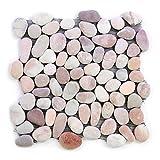 Divero 11 Fliesenmatten aus Naturstein Flusskiesel Flussstein Mosaikfliesen beige/rosa á 32 x 32 cm