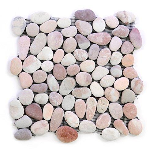 Quadrate Aus Schwarzem Schiefer (DIVERO 11 Matten 30 x 30cm Flusskiesel Flussstein Naturstein-Mosaik Fliesen für Wand Boden beige rosa)