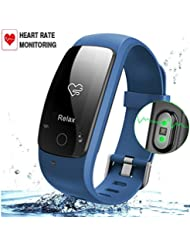 Fitness-Tracker mit Herzfrequenz-Monitor, Wireless Bluetooth Smart Armband mit IP67 Wasserdicht, 24-Stunden Auto Activity Wristband mit Wettervorhersage / 14 Trainingsmodi / Sleep Monitor / SMS anrufen Für IOS / Android Smartphone erinnern.
