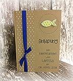 Einladung Einladungskarte Kommunion Konfirmation Punkte Fisch personalisierbar Kraftpapier braun blau grün