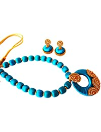 Youth Blue Silk Thread Necklace With Grand Pendant And Earrings With Grand Pendant And Earrings