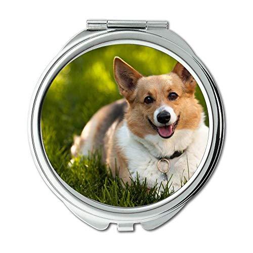 Yanteng Spiegel, Travel Mirror, Französisch Bulldog Corgi, Taschenspiegel, 1 X 2X Vergrößerung -