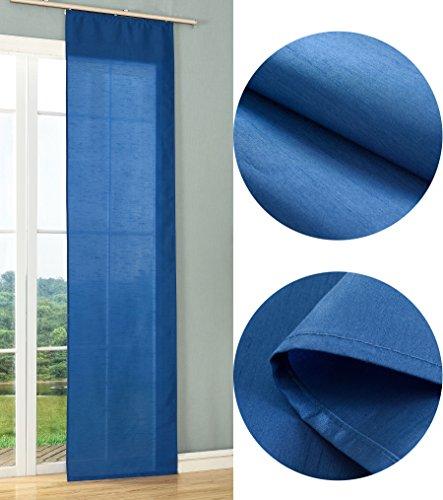Schiebegardine Flächenvorhang Wildseide Optik Vorhang Gardine , 245x60 cm (Höhe x Breite) , Blau, 85620