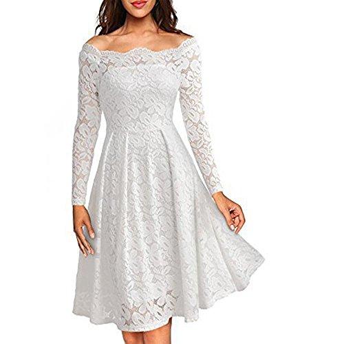 Lady Kleid Retro Ein Wort Kragen Strapless Lace Big Swing Lange Rock Polyester , white , s (Punkt-kragen-weiß-boden)