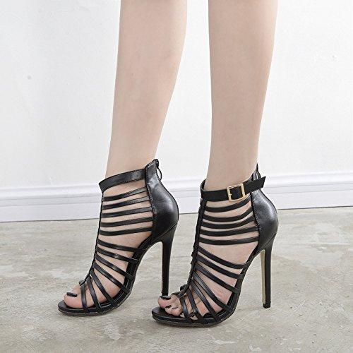 GS~LY Regali Cavo a strisce sandali tacchi alti Black