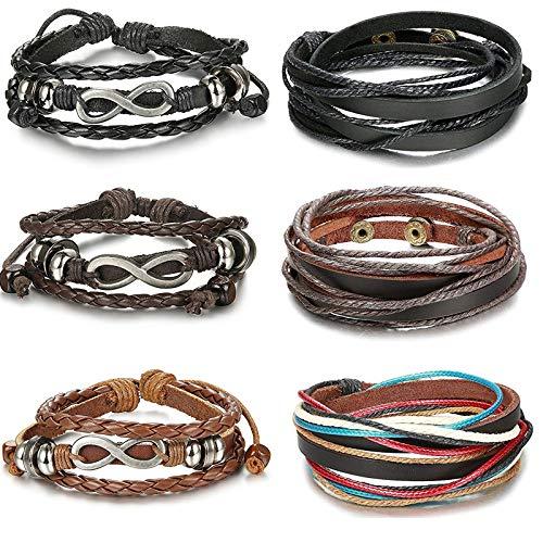 CASSIECA 6 STÜCKE Leder Armband Unendlichkeit für Herren Damen Geflochtenes Armbänder Wrap Strings Armreif Manschette Set, Seilwickel Länge Verstellbar
