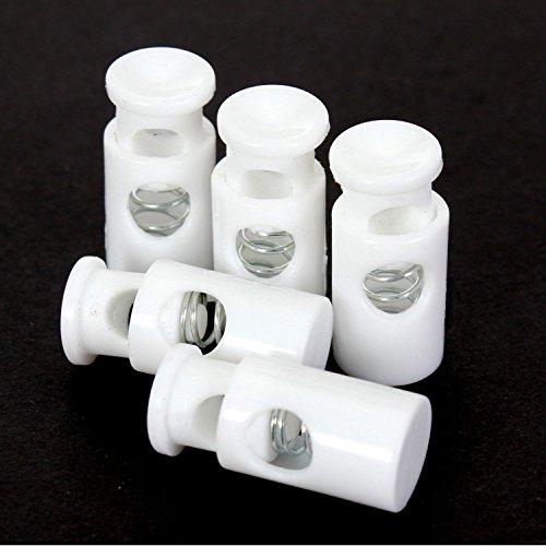 BIG-SAM - 10 Kordelstopper   1-Loch oder 2-Loch   Rund, Oval oder Zylinder   in verschiedenen Farben. Zur Taschenherstellung, für Schnürsenkel und vieles mehr (Weiß, 1-Loch   Zylinder   28mm)
