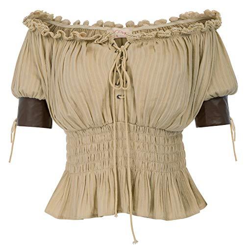Belle Poque Frauen Halbe Ärmel Retro Vintage Schulterfrei Tops Khaki Größe ()