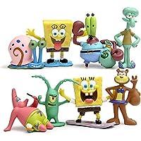 CAKJCAR 8 piezas lindo Bob Esponja de dibujos animados muñecas juguetes día festivo regalo ...